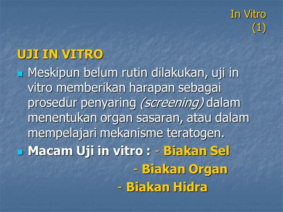 Macam Uji in vitro : - Biakan Sel - Biakan Organ - Biakan Hidra