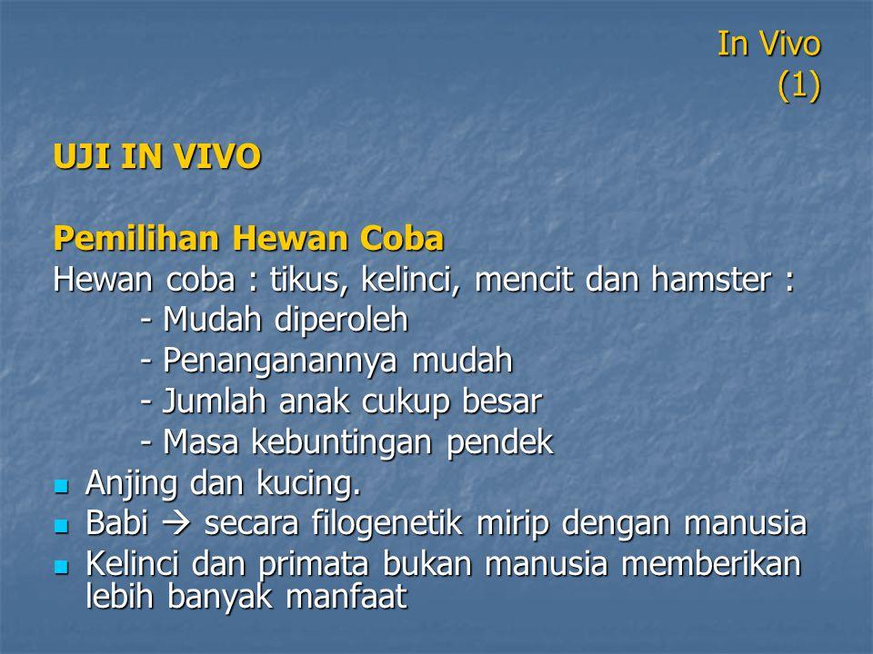 In Vivo (1) UJI IN VIVO. Pemilihan Hewan Coba. Hewan coba : tikus, kelinci, mencit dan hamster : - Mudah diperoleh.