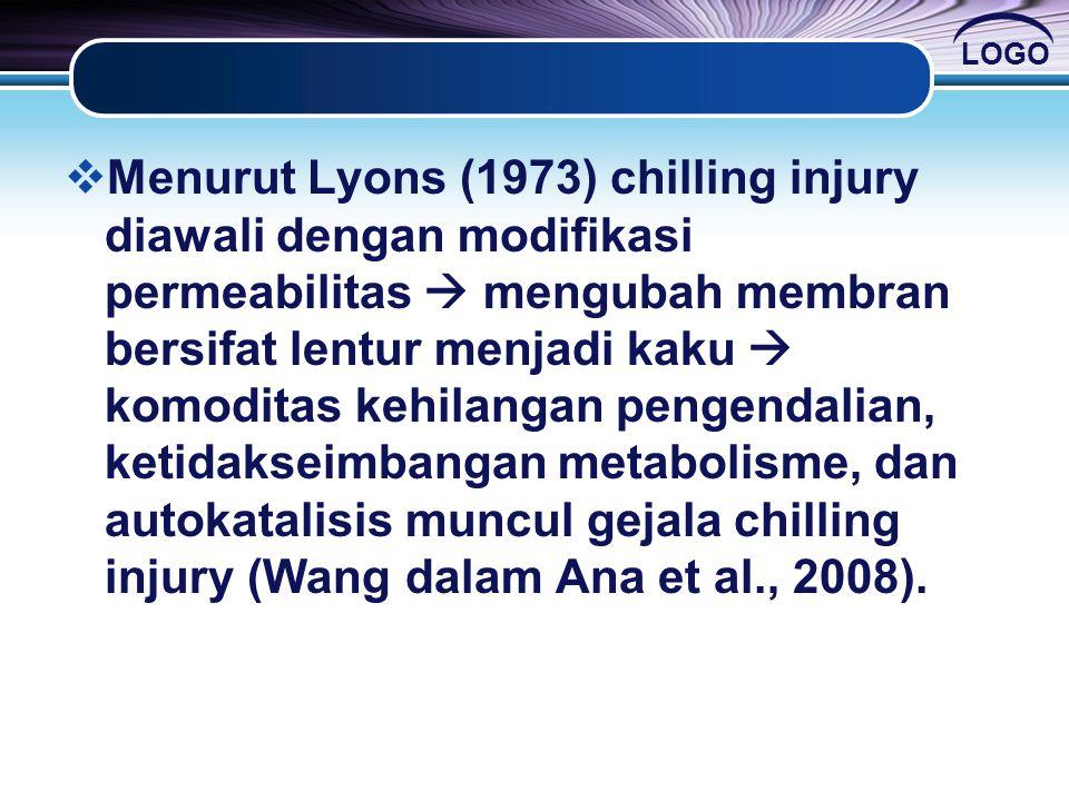 Menurut Lyons (1973) chilling injury diawali dengan modifikasi permeabilitas  mengubah membran bersifat lentur menjadi kaku  komoditas kehilangan pengendalian, ketidakseimbangan metabolisme, dan autokatalisis muncul gejala chilling injury (Wang dalam Ana et al., 2008).