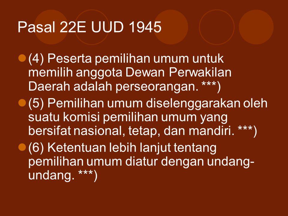 Pasal 22E UUD 1945 (4) Peserta pemilihan umum untuk memilih anggota Dewan Perwakilan Daerah adalah perseorangan. ***)