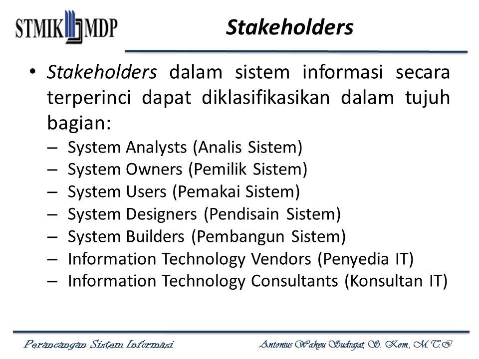 Stakeholders Stakeholders dalam sistem informasi secara terperinci dapat diklasifikasikan dalam tujuh bagian: