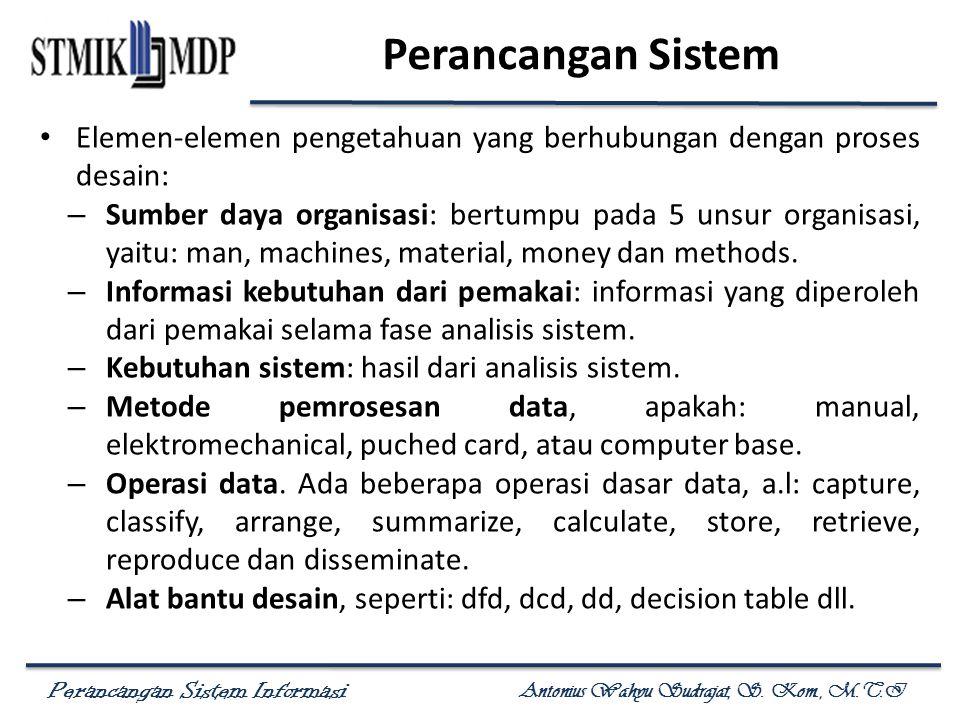 Perancangan Sistem Elemen-elemen pengetahuan yang berhubungan dengan proses desain:
