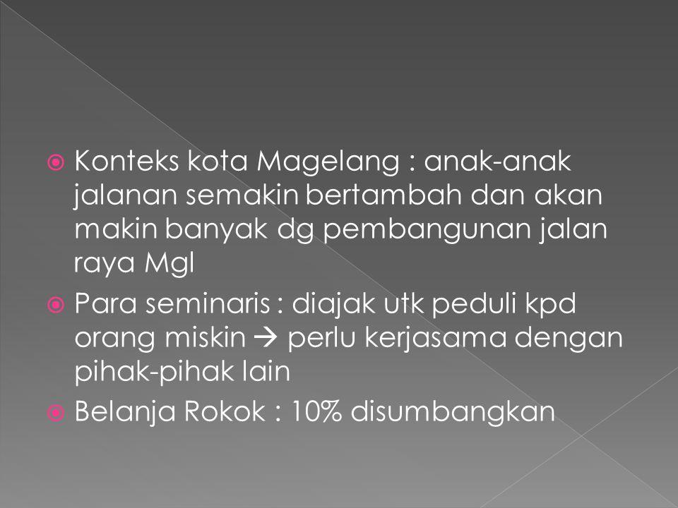 Konteks kota Magelang : anak-anak jalanan semakin bertambah dan akan makin banyak dg pembangunan jalan raya Mgl