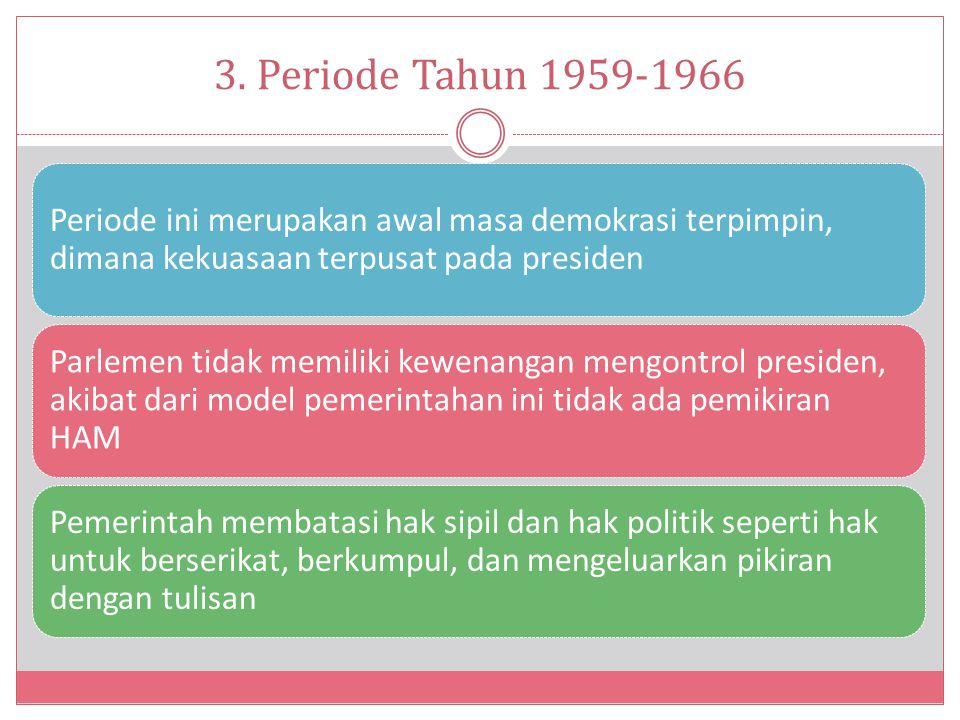 3. Periode Tahun 1959-1966 Periode ini merupakan awal masa demokrasi terpimpin, dimana kekuasaan terpusat pada presiden.