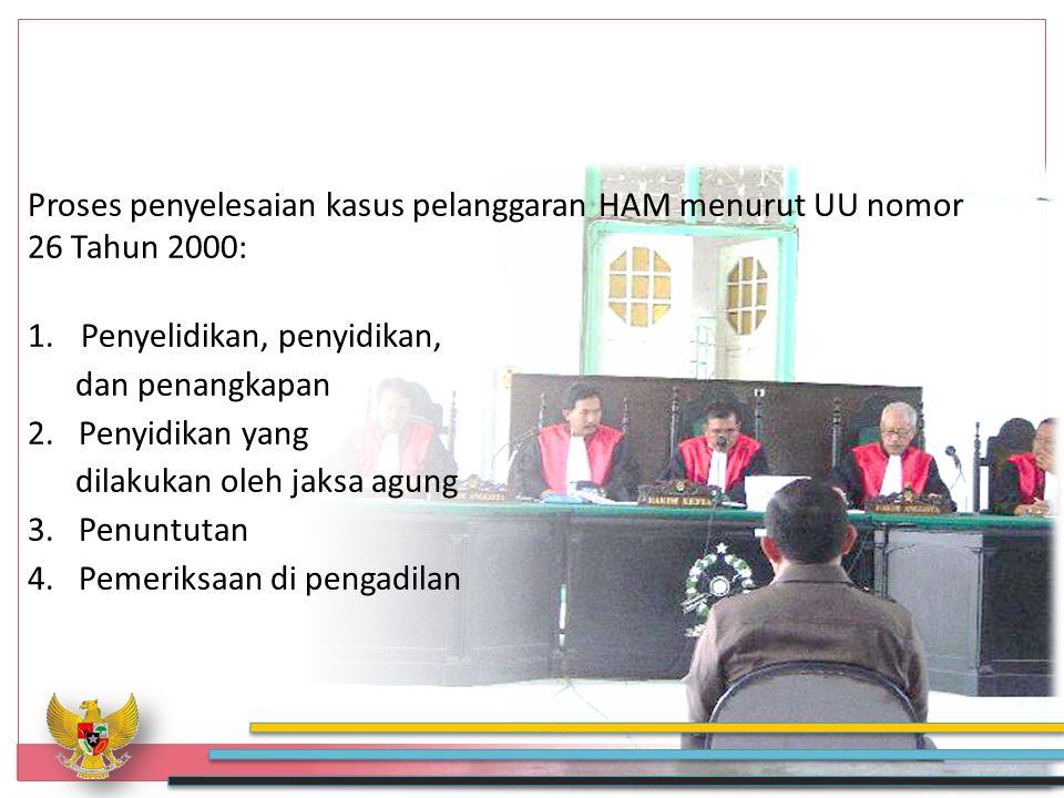 Proses penyelesaian kasus pelanggaran HAM menurut UU nomor 26 Tahun 2000: