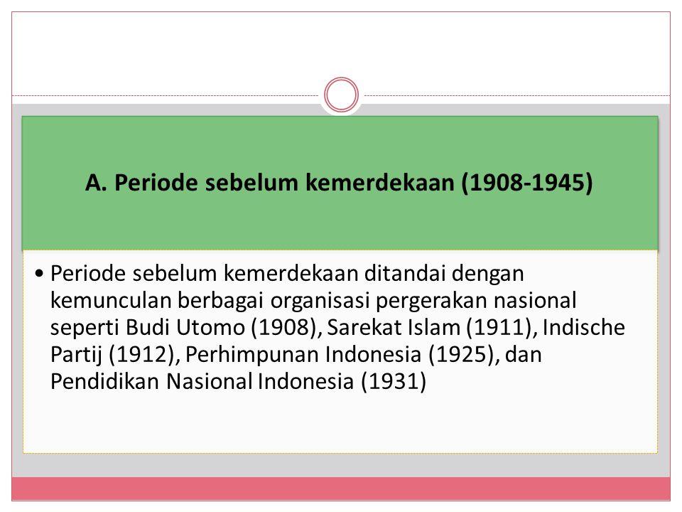 A. Periode sebelum kemerdekaan (1908-1945)