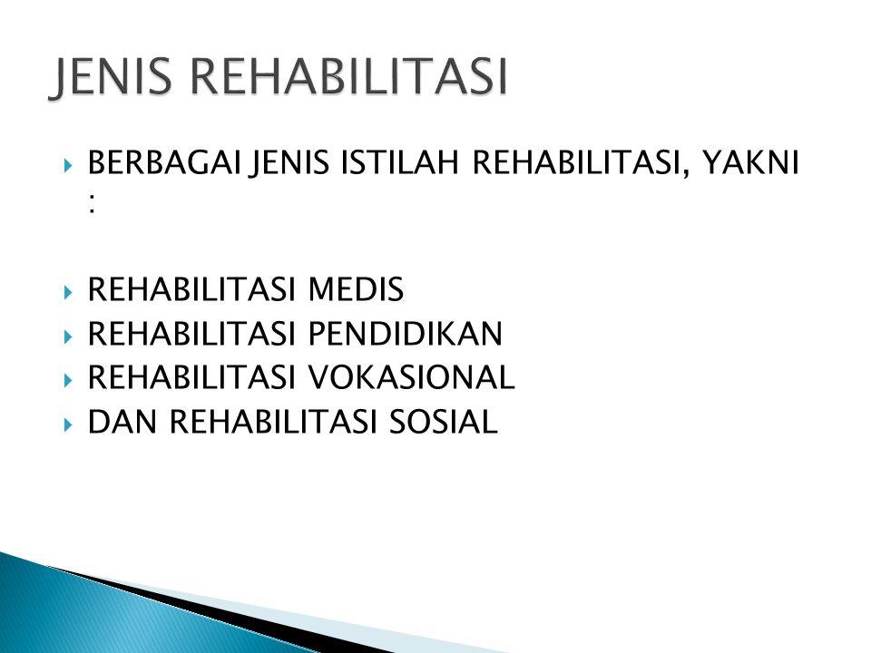 JENIS REHABILITASI BERBAGAI JENIS ISTILAH REHABILITASI, YAKNI :