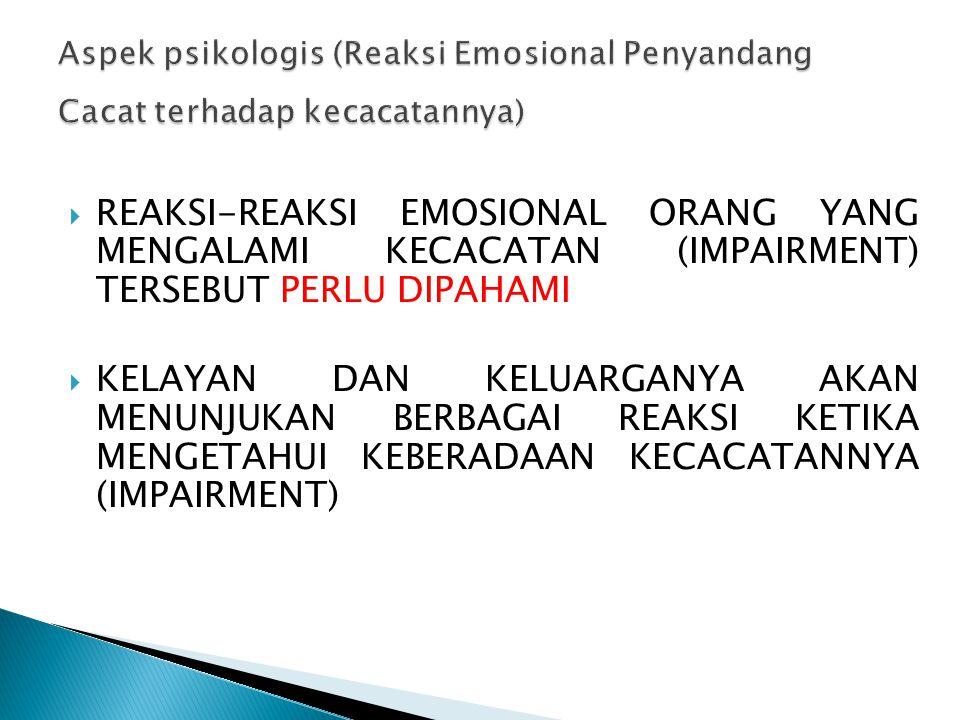 Aspek psikologis (Reaksi Emosional Penyandang Cacat terhadap kecacatannya)