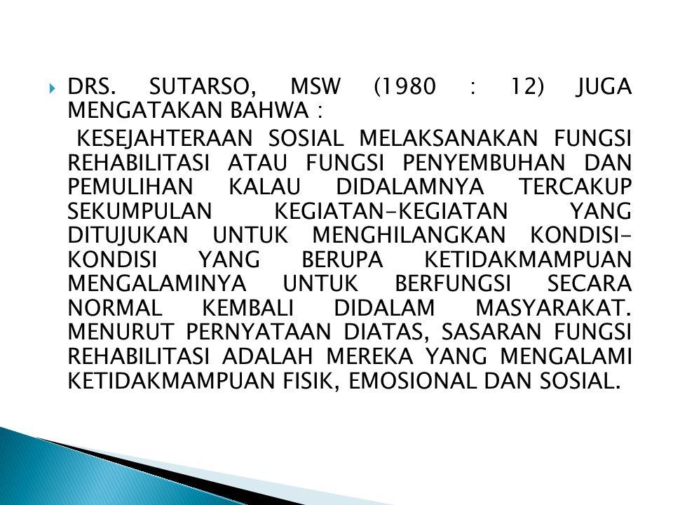DRS. SUTARSO, MSW (1980 : 12) JUGA MENGATAKAN BAHWA :