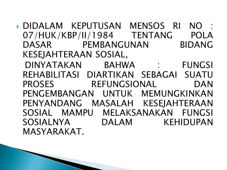 DIDALAM KEPUTUSAN MENSOS RI NO : 07/HUK/KBP/II/1984 TENTANG POLA DASAR PEMBANGUNAN BIDANG KESEJAHTERAAN SOSIAL,