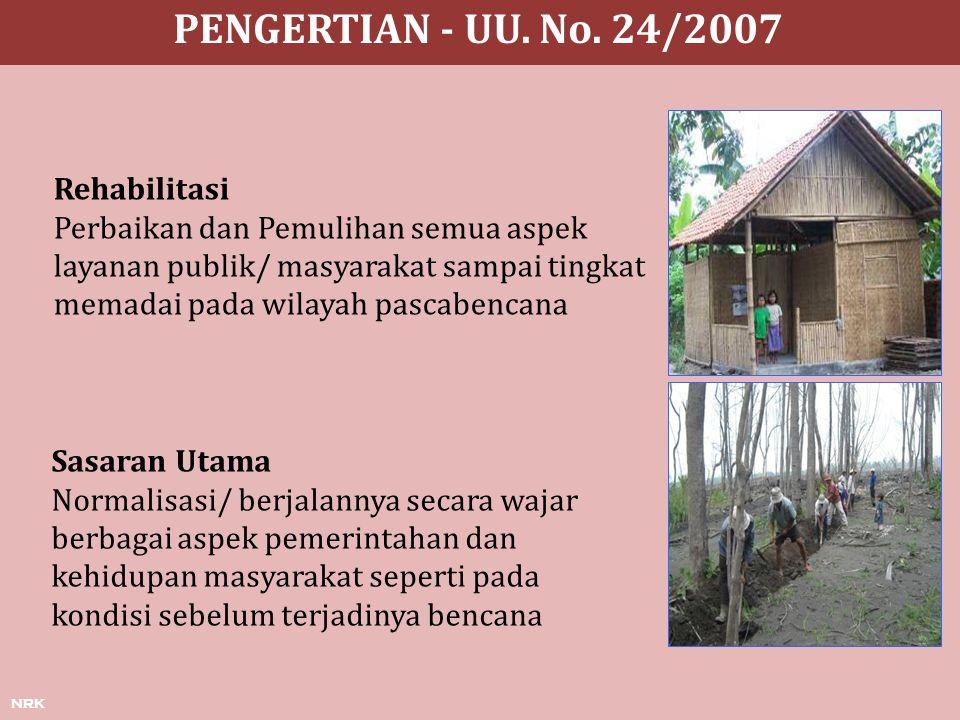 PENGERTIAN - UU. No. 24/2007 Rehabilitasi