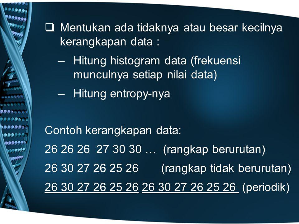 Mentukan ada tidaknya atau besar kecilnya kerangkapan data :