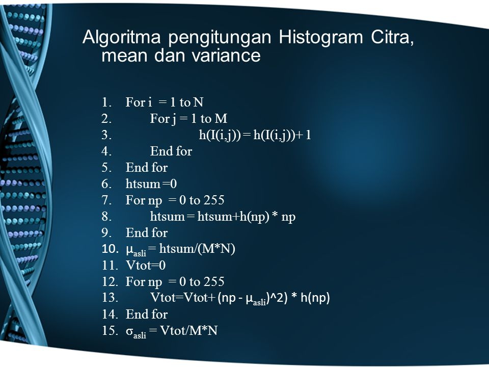 Algoritma pengitungan Histogram Citra, mean dan variance