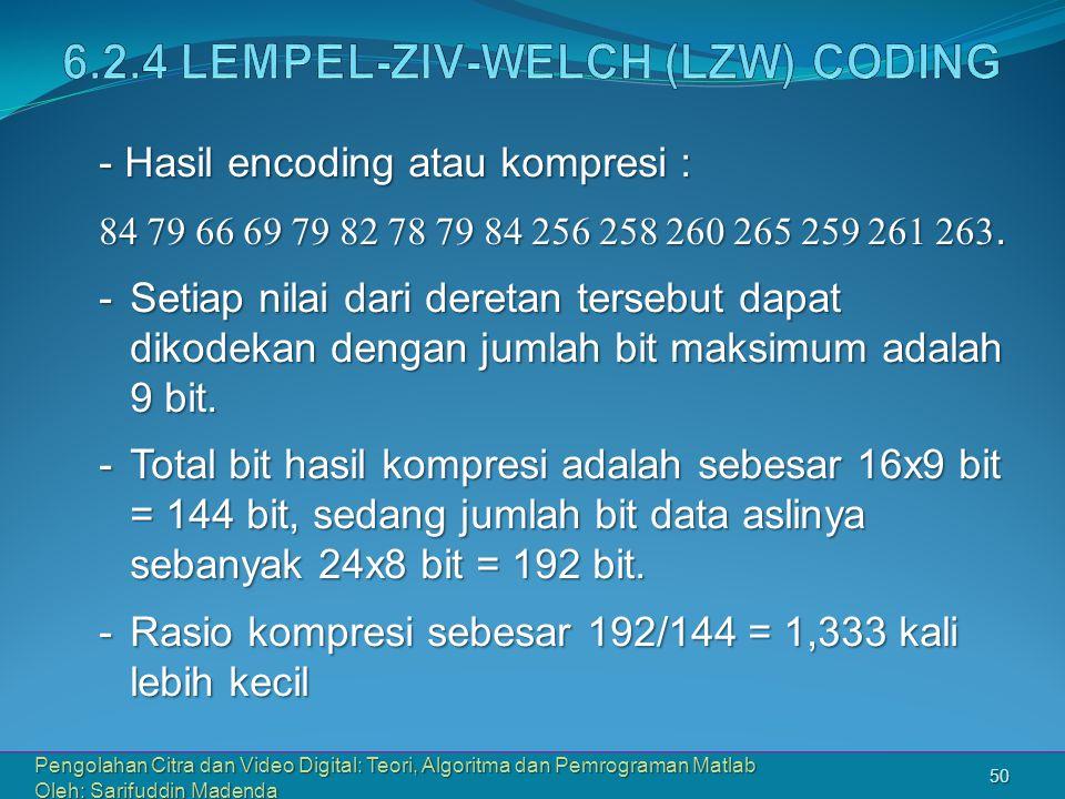 6.2.4 Lempel-Ziv-Welch (LZW) CODING