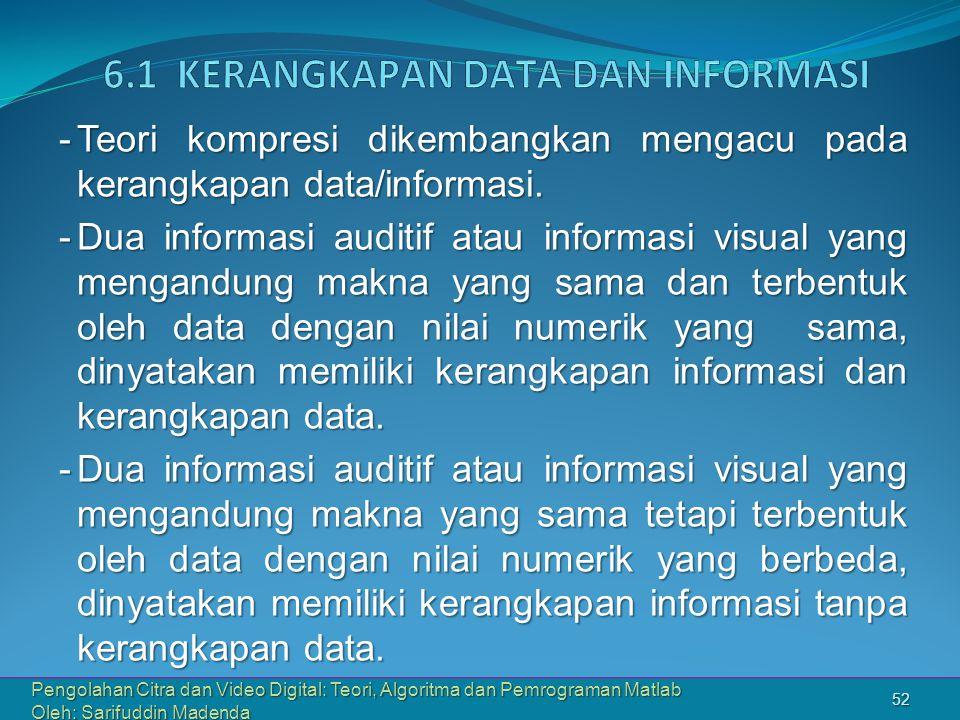 6.1 Kerangkapan Data dan Informasi