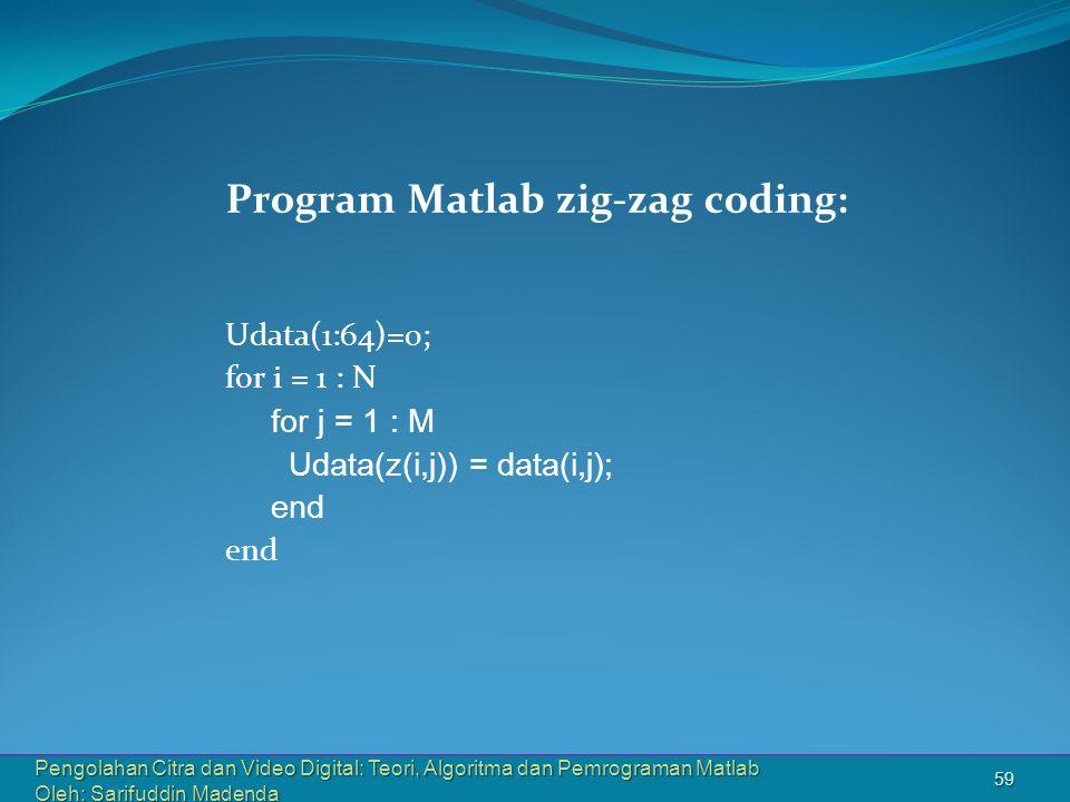 Program Matlab zig-zag coding: