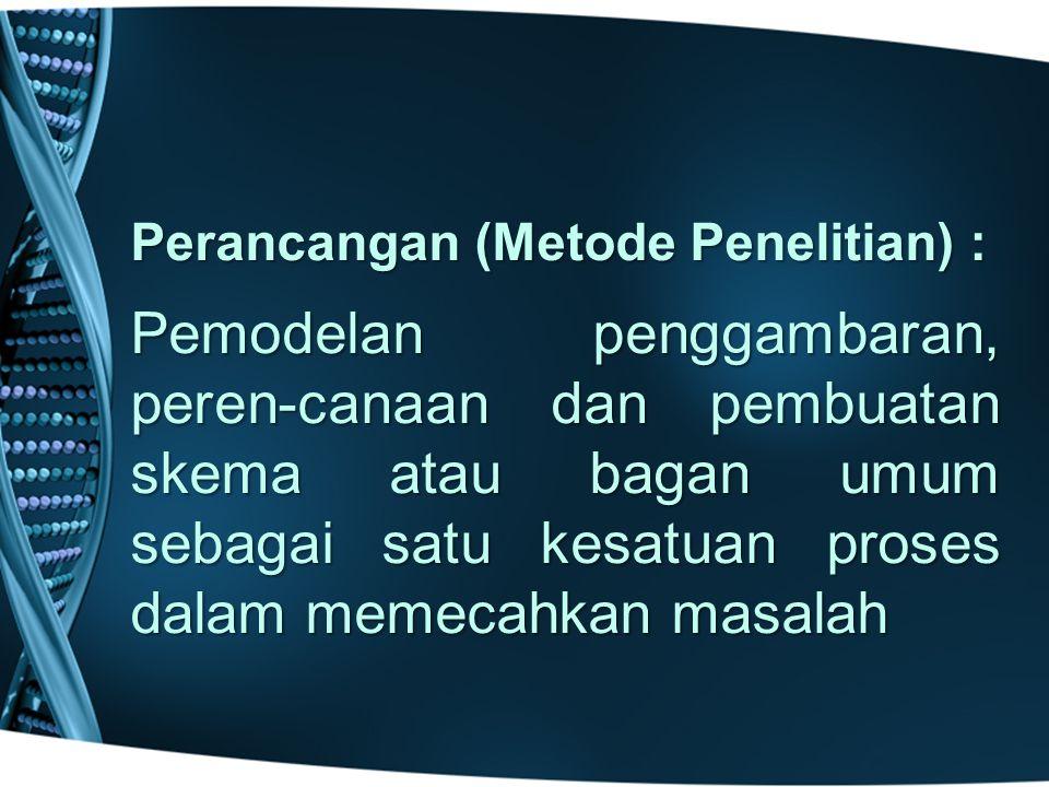 Perancangan (Metode Penelitian) :