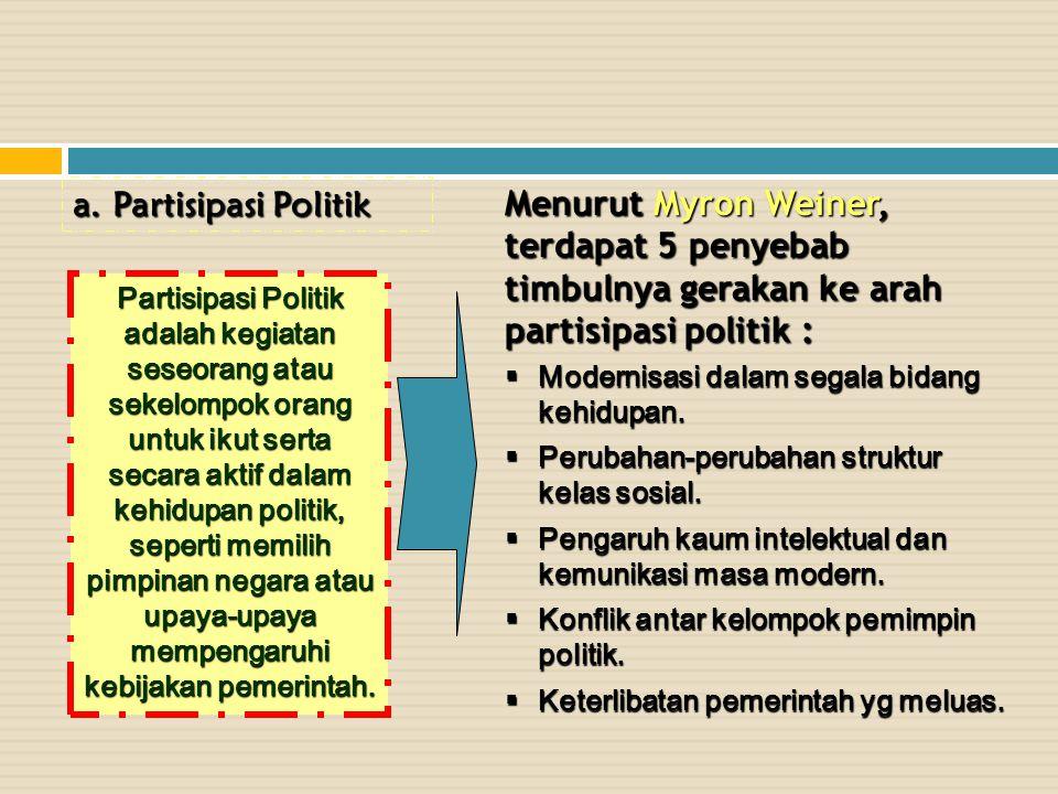 Partisipasi Politik Menurut Myron Weiner, terdapat 5 penyebab timbulnya gerakan ke arah partisipasi politik :