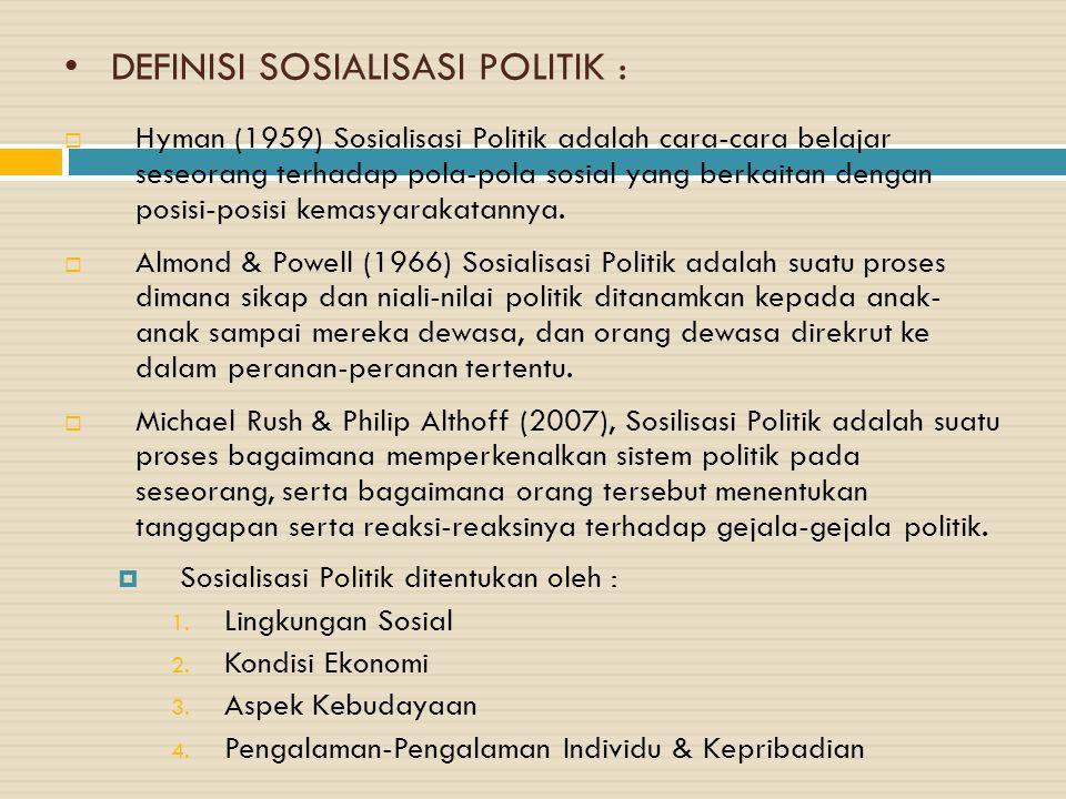 DEFINISI SOSIALISASI POLITIK :