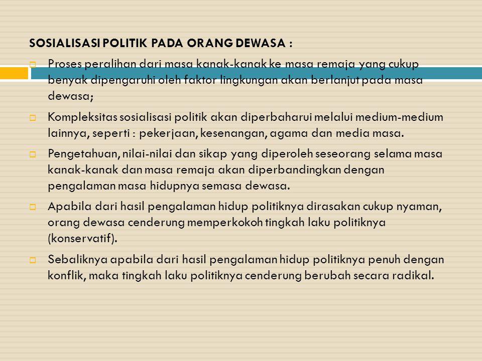 SOSIALISASI POLITIK PADA ORANG DEWASA :