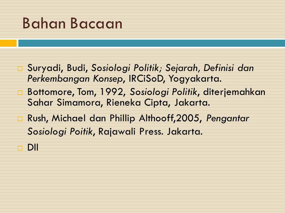 Bahan Bacaan Suryadi, Budi, Sosiologi Politik; Sejarah, Definisi dan Perkembangan Konsep, IRCiSoD, Yogyakarta.