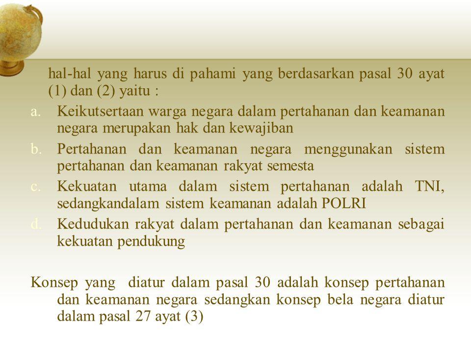 hal-hal yang harus di pahami yang berdasarkan pasal 30 ayat (1) dan (2) yaitu :