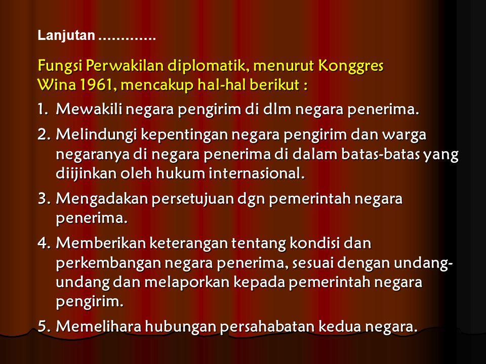 Fungsi Perwakilan diplomatik, menurut Konggres