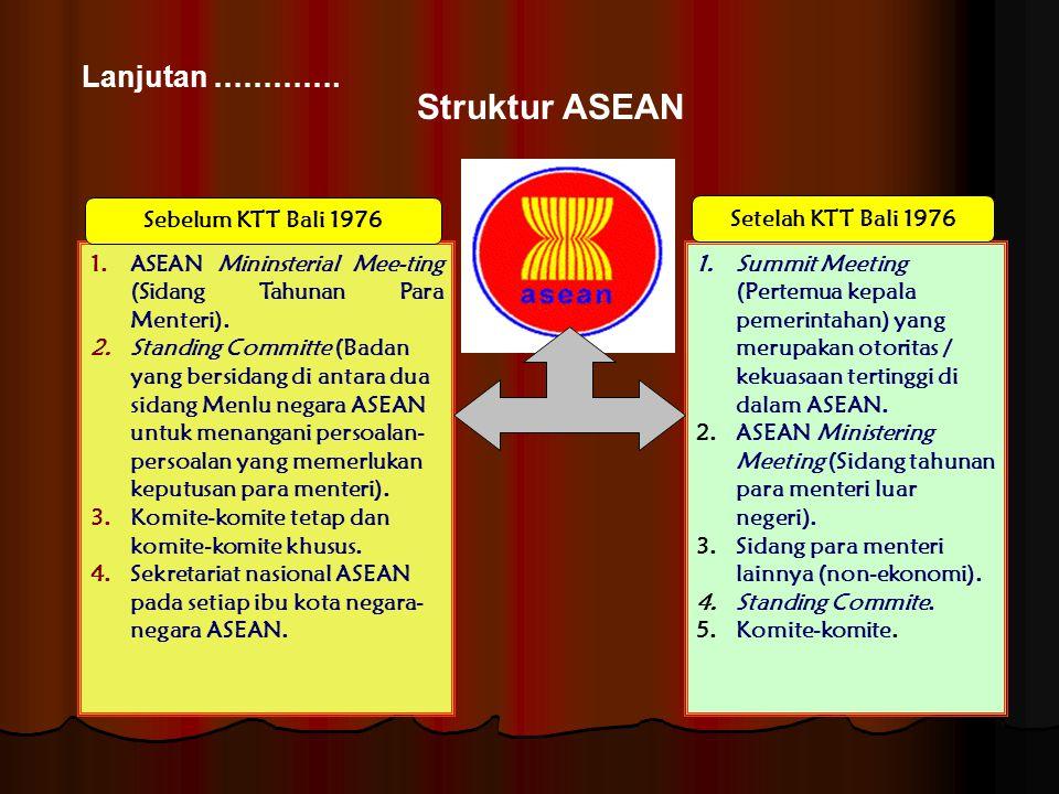 Struktur ASEAN Lanjutan …………. Sebelum KTT Bali 1976