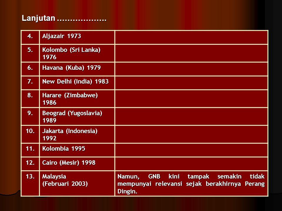 Lanjutan ………………. 4. Aljazair 1973 5. Kolombo (Sri Lanka) 1976 6.