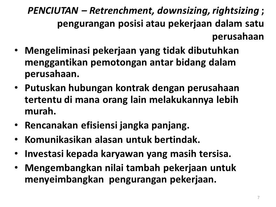 PENCIUTAN – Retrenchment, downsizing, rightsizing ; pengurangan posisi atau pekerjaan dalam satu perusahaan