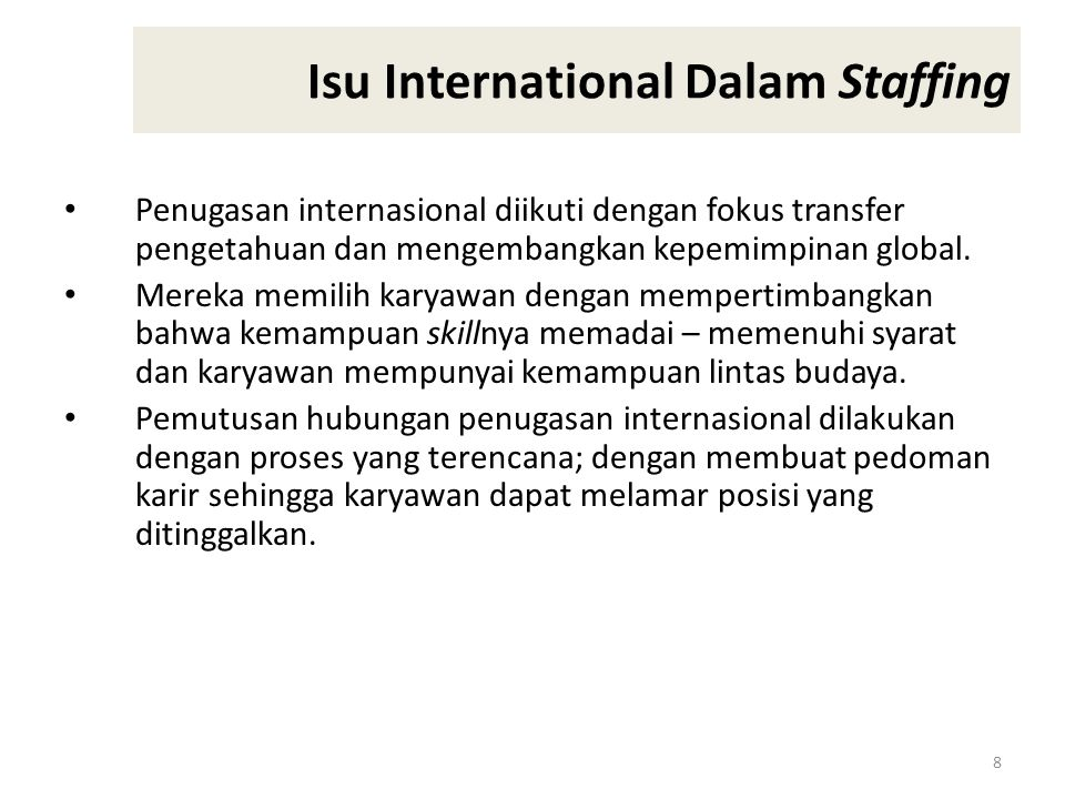 Isu International Dalam Staffing