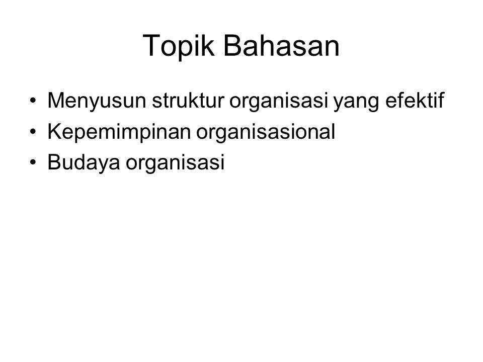 Topik Bahasan Menyusun struktur organisasi yang efektif