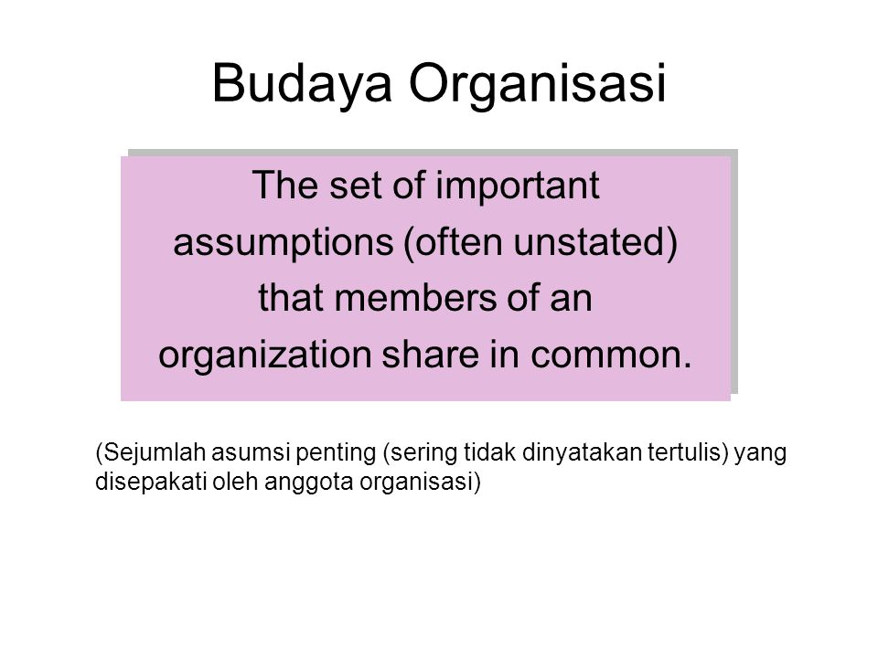Budaya Organisasi The set of important assumptions (often unstated)