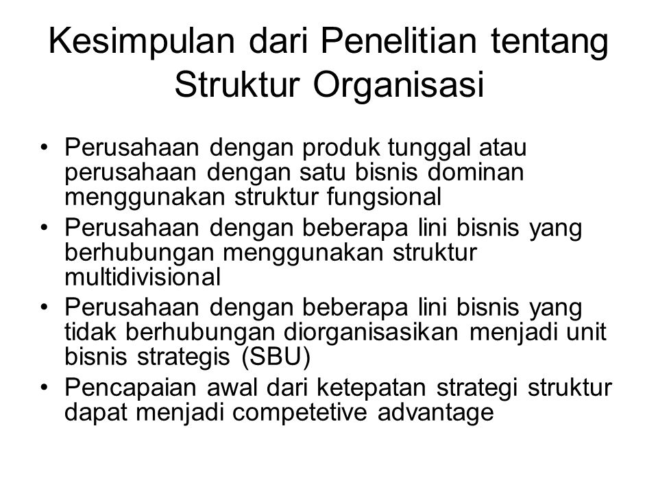 Kesimpulan dari Penelitian tentang Struktur Organisasi