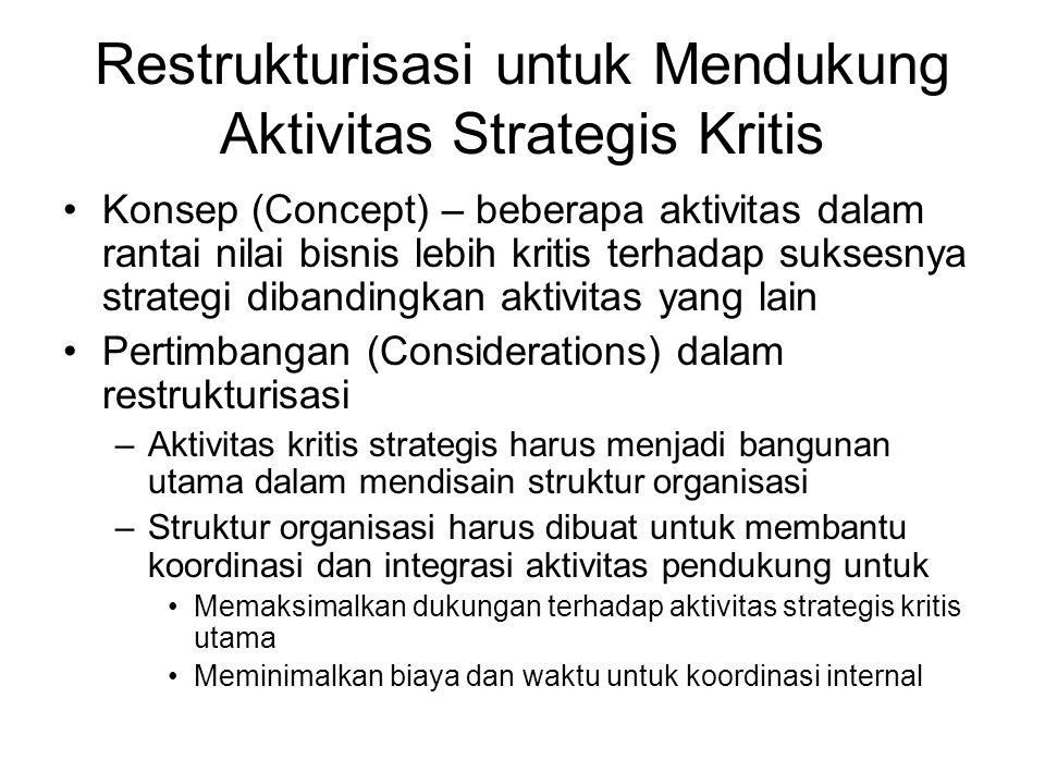 Restrukturisasi untuk Mendukung Aktivitas Strategis Kritis
