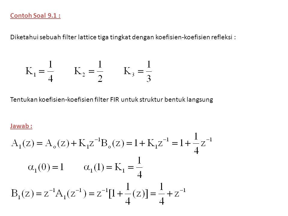 Contoh Soal 9.1 : Diketahui sebuah filter lattice tiga tingkat dengan koefisien-koefisien refleksi :
