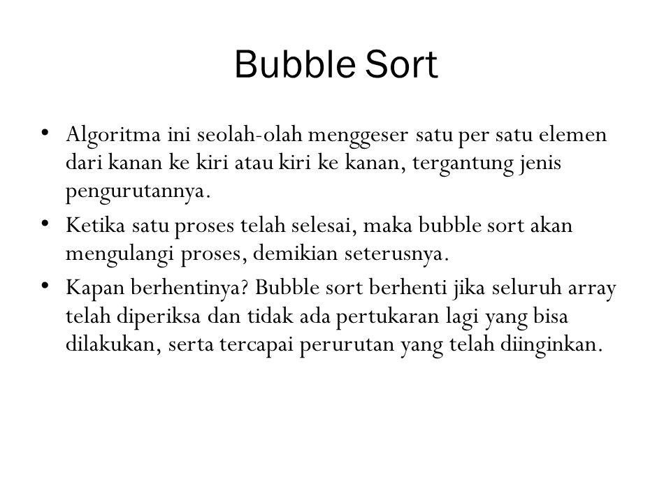 Bubble Sort Algoritma ini seolah-olah menggeser satu per satu elemen dari kanan ke kiri atau kiri ke kanan, tergantung jenis pengurutannya.