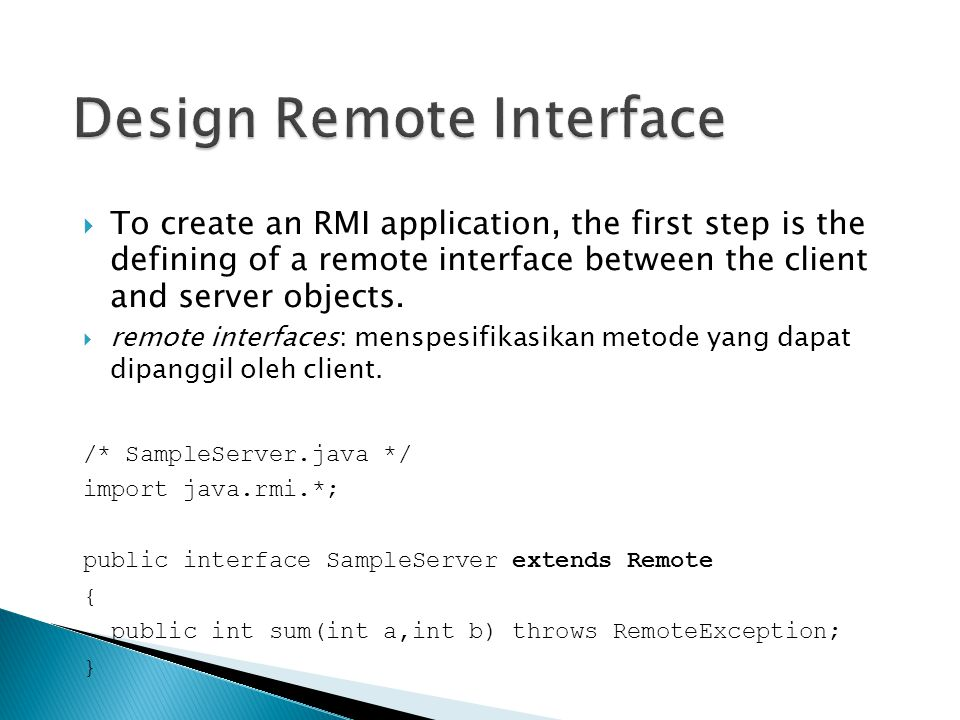 Design Remote Interface