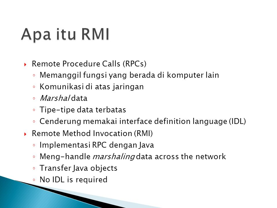 Apa itu RMI Remote Procedure Calls (RPCs)
