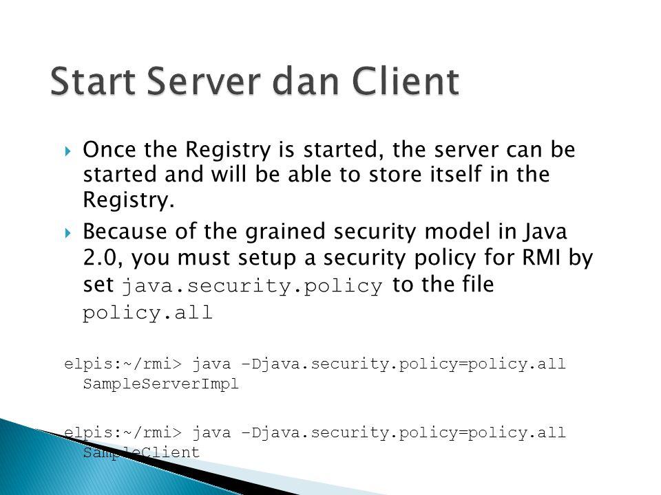 Start Server dan Client
