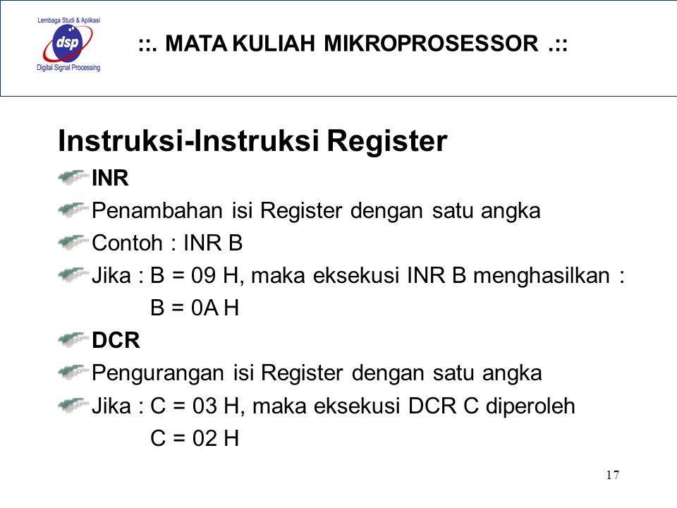 Instruksi-Instruksi Register