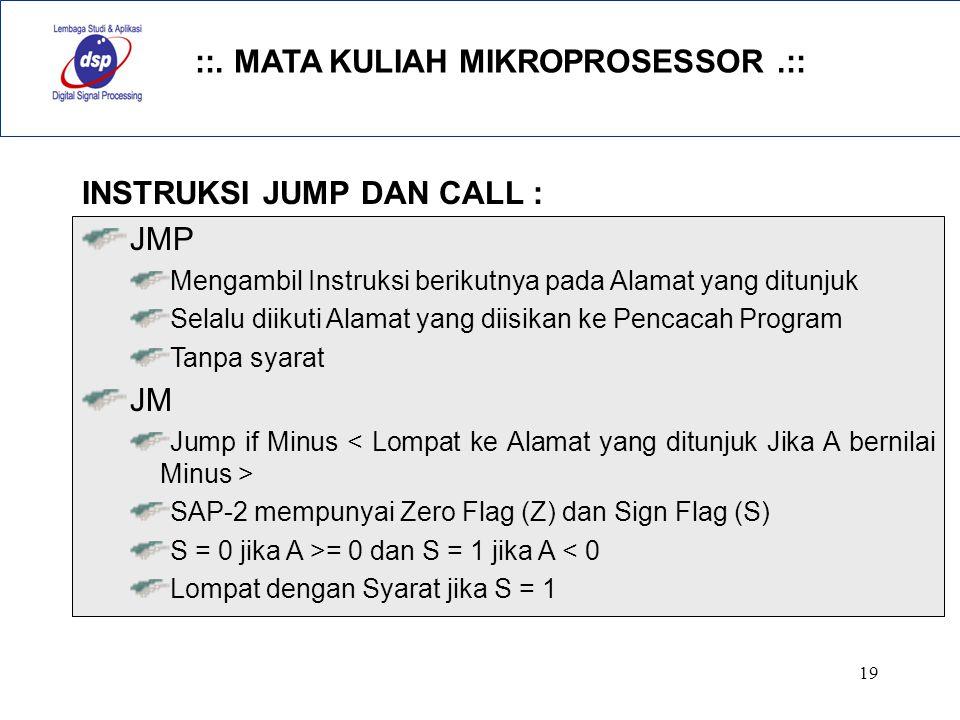 INSTRUKSI JUMP DAN CALL : JMP