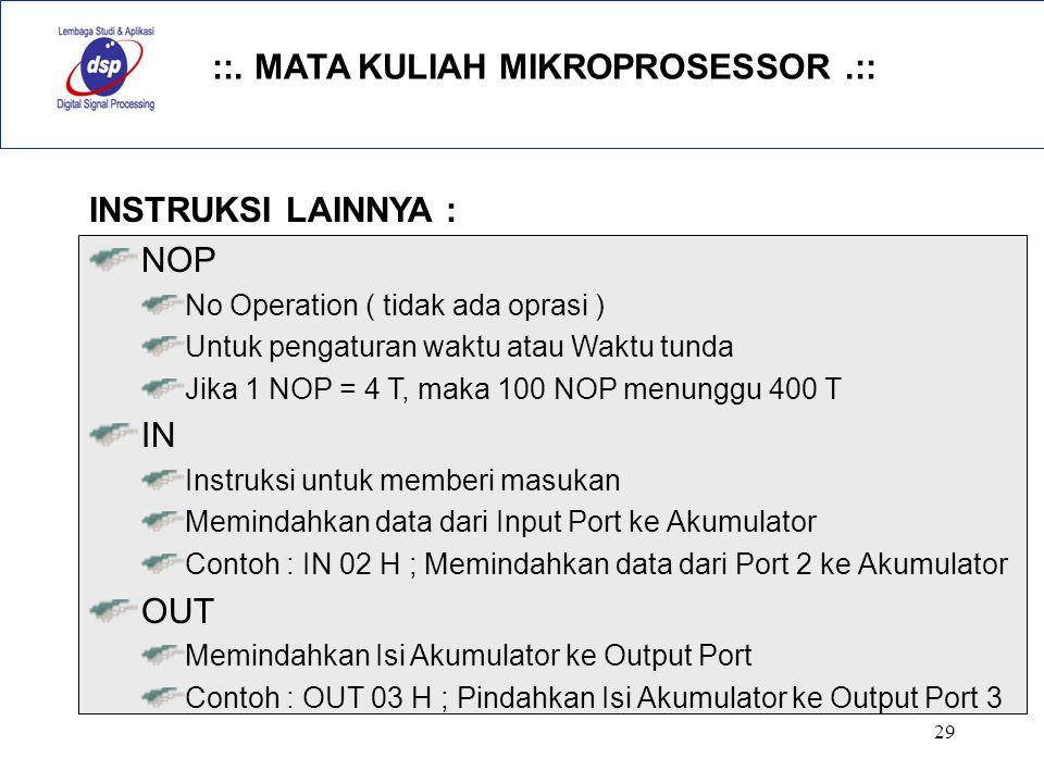 INSTRUKSI LAINNYA : NOP IN OUT No Operation ( tidak ada oprasi )