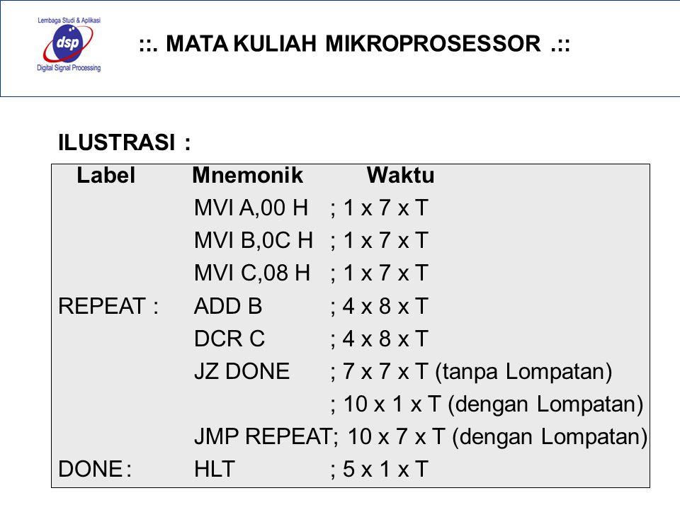 ILUSTRASI : Label Mnemonik Waktu. MVI A,00 H ; 1 x 7 x T. MVI B,0C H ; 1 x 7 x T.