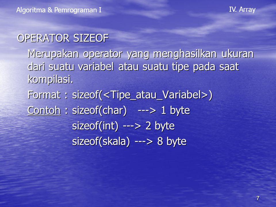 OPERATOR SIZEOF Merupakan operator yang menghasilkan ukuran dari suatu variabel atau suatu tipe pada saat kompilasi.