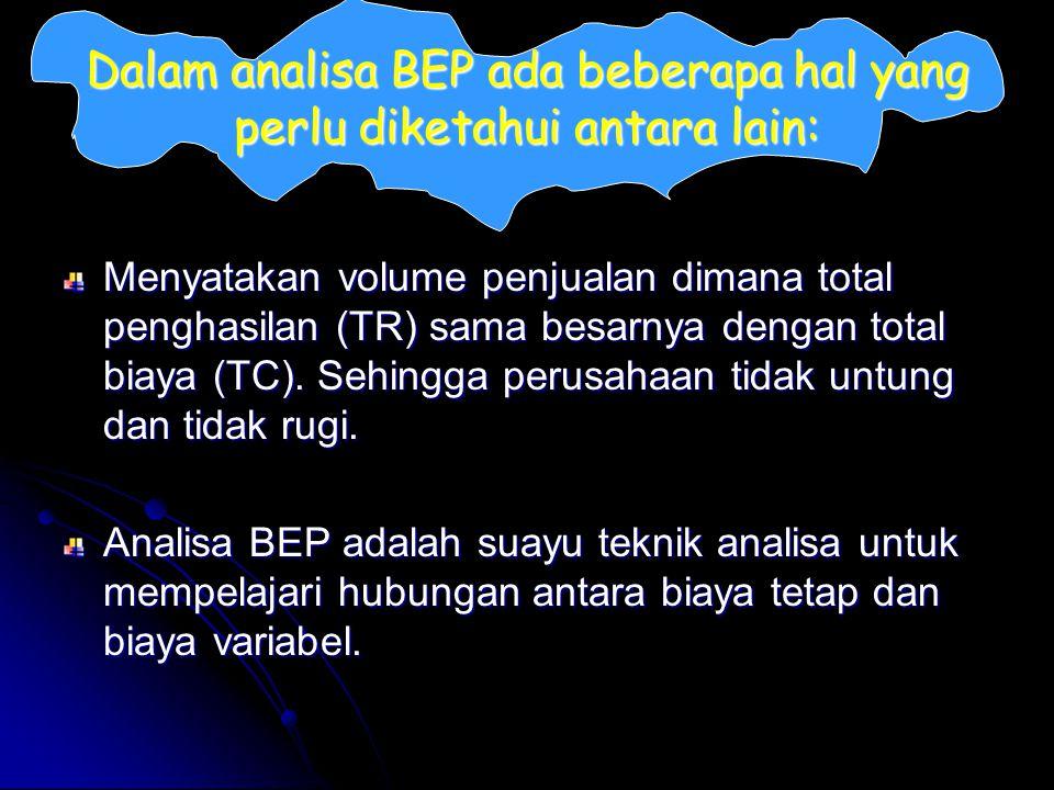 Dalam analisa BEP ada beberapa hal yang perlu diketahui antara lain: