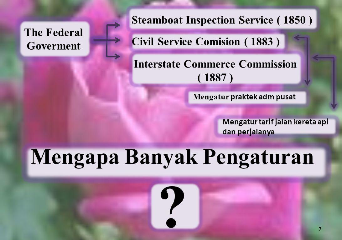 Interstate Commerce Commission ( 1887 ) Mengapa Banyak Pengaturan
