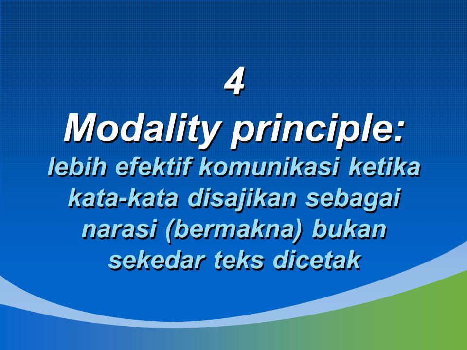 4 Modality principle: lebih efektif komunikasi ketika kata-kata disajikan sebagai narasi (bermakna) bukan sekedar teks dicetak