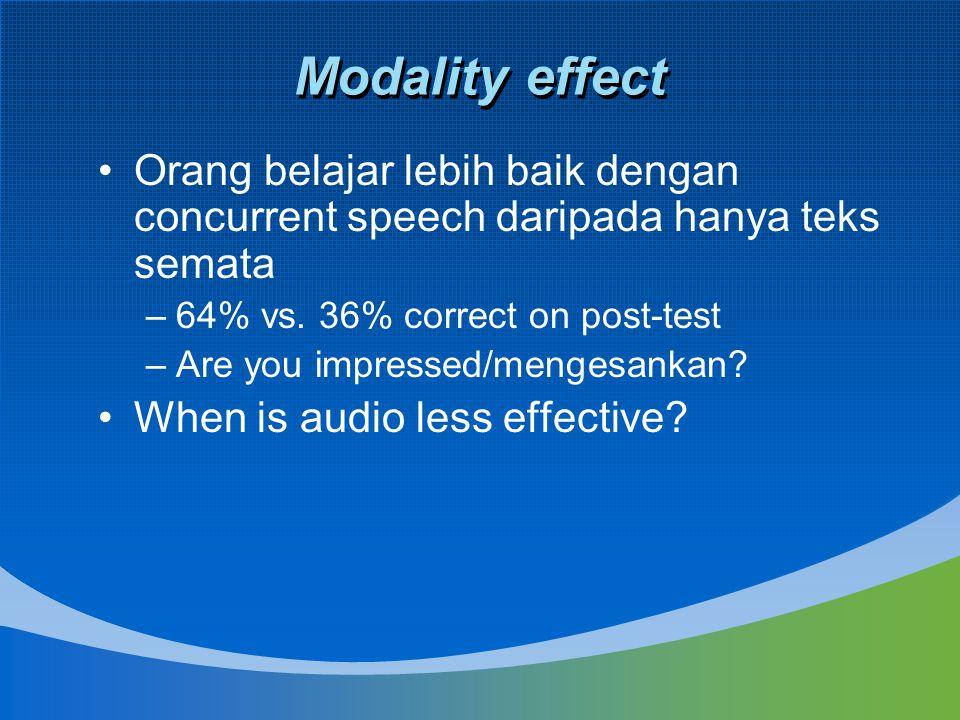 Modality effect Orang belajar lebih baik dengan concurrent speech daripada hanya teks semata. 64% vs. 36% correct on post-test.