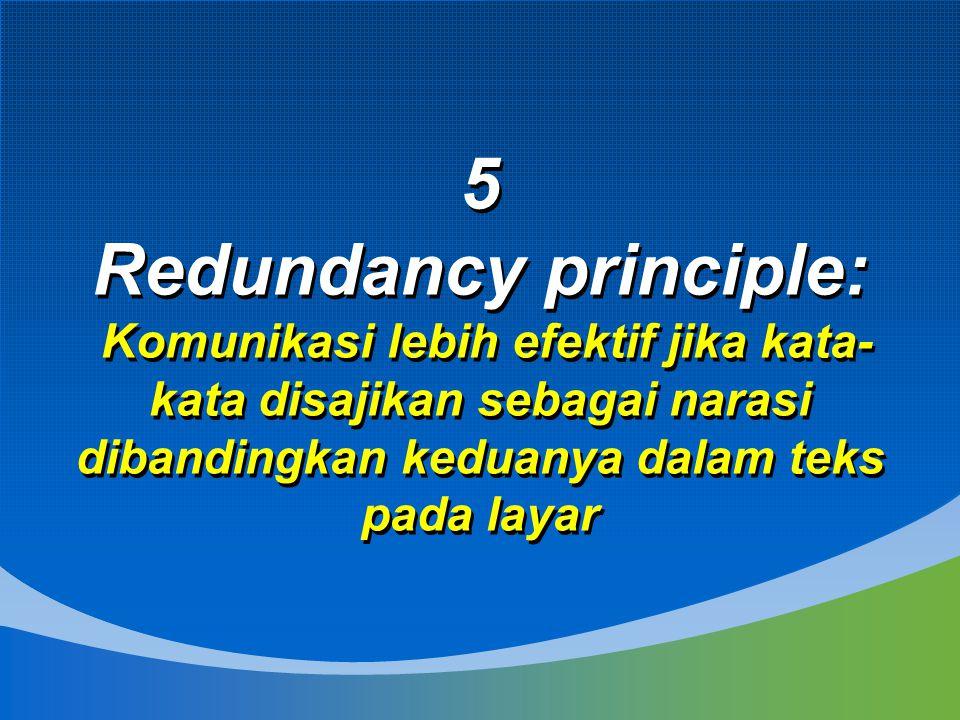 5 Redundancy principle: Komunikasi lebih efektif jika kata-kata disajikan sebagai narasi dibandingkan keduanya dalam teks pada layar